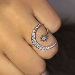Silver CZ Crescent Moon and Star Ring